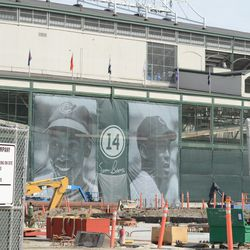 3:32 p.m. Ernie Banks banners on the west side of the ballpark -