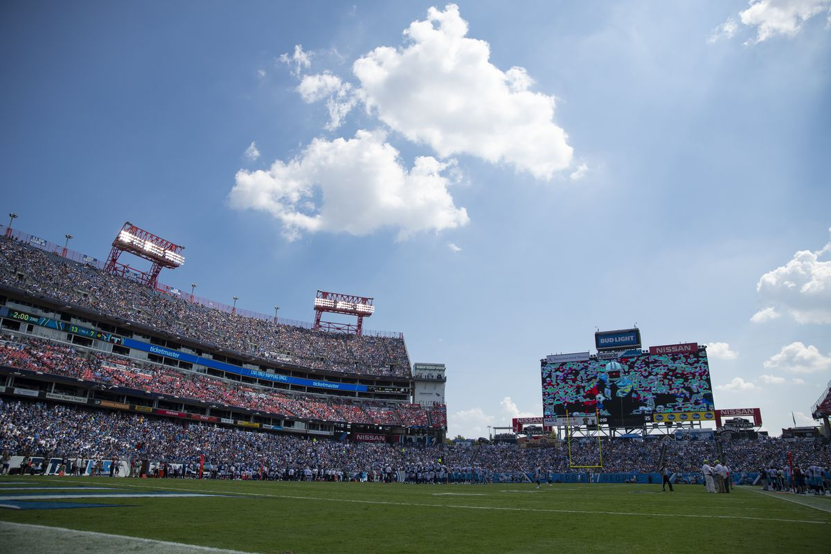 General view from field level during the game between the Tennessee Titans and the Indianapolis Colts at Nissan Stadium on September 15, 2019 in Nashville, Tennessee.