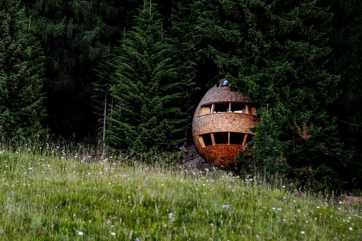 pine cone-shaped treehouse