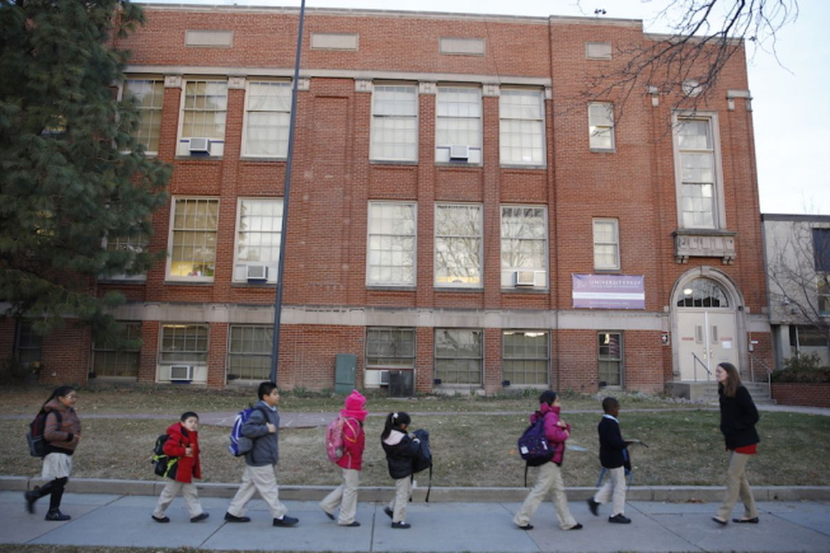 Students at University Prep, a Denver charter school, enter the building in 2013.