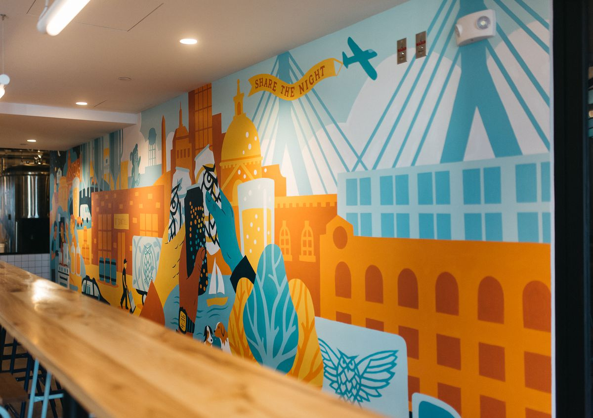 Mural by James Weinberg, night shift brewing lovejoy wharf