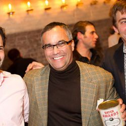 Eater co-founders Ben Leventhal and Lockhart Steele surround empire maven Chris Cannon.