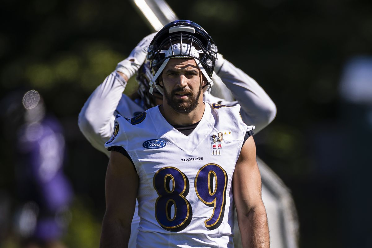 Mark Andrews #89 of the Baltimore Ravens looks on during mandatory minicamp at Under Armour Performance Center on June 16, 2021 in Owings Mills, Maryland.