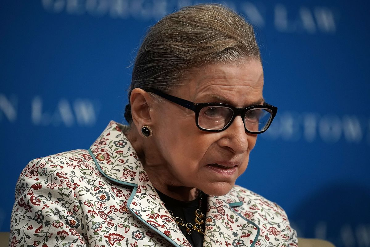 Supreme Court Justice Ruth Bader Ginsburg giving a lecture at Georgetown University Law Center.