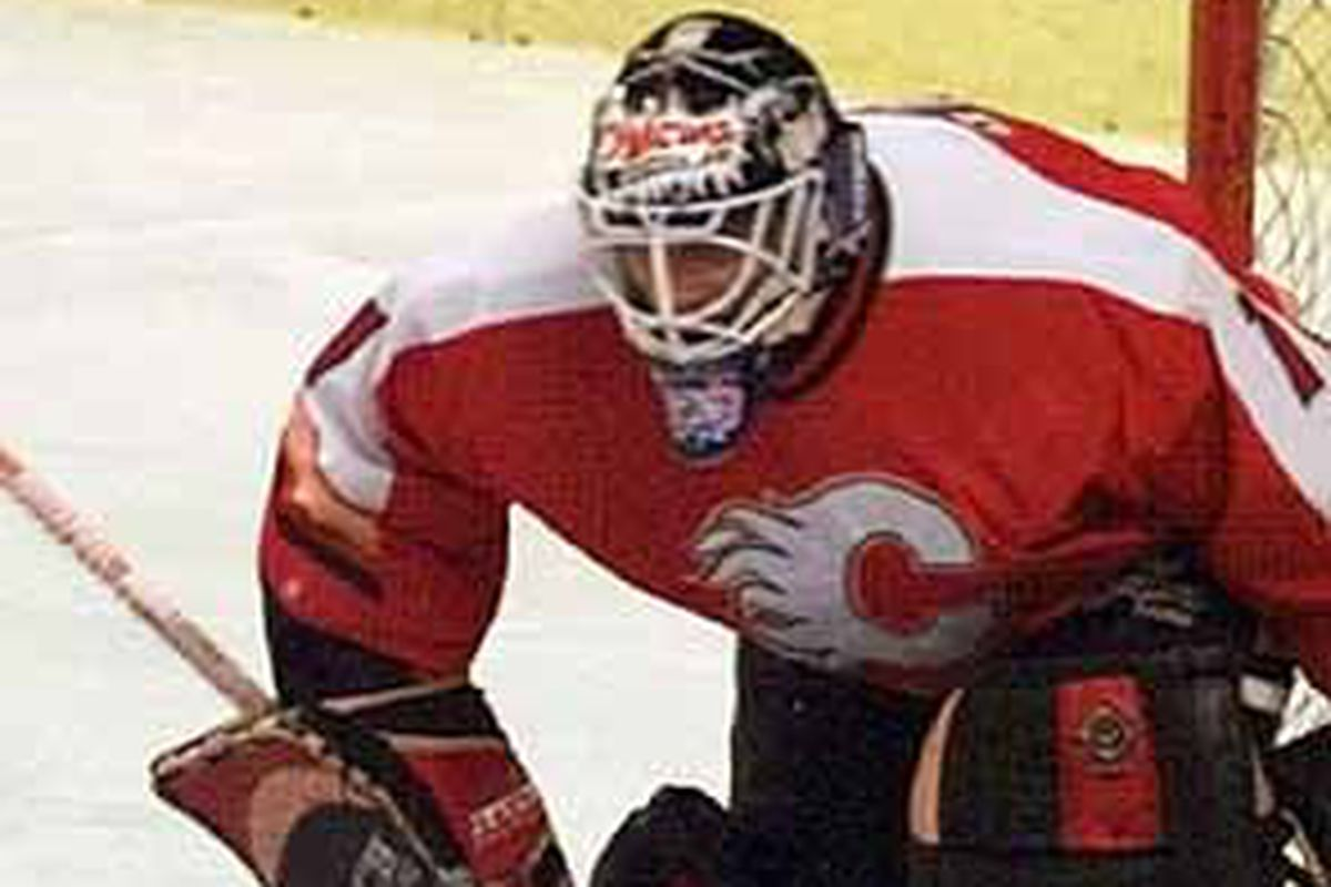 Tyrone Garner standing tall between the pipes.