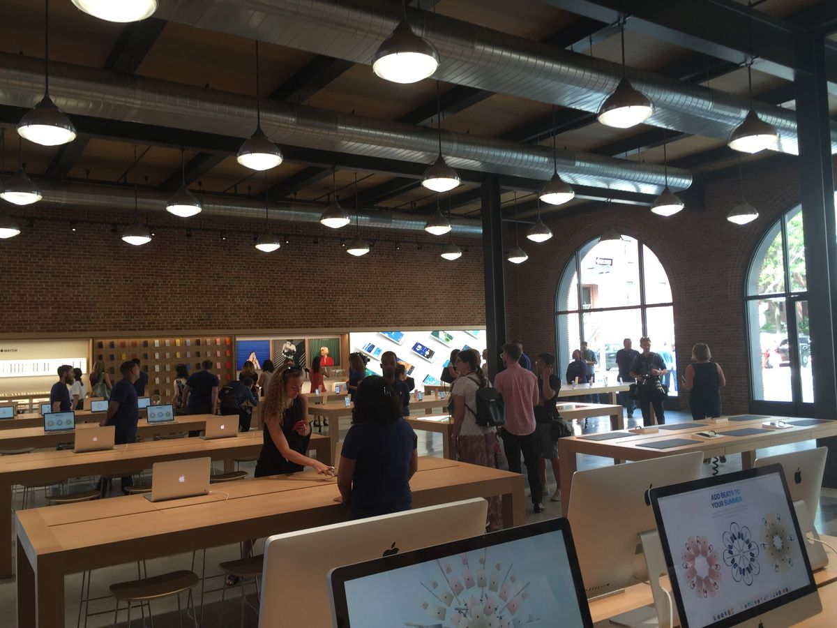 """Apple staffers were really excited about the brick, the """"warehouse lighting"""" and the """"acoustic timber"""" used for the ceiling."""