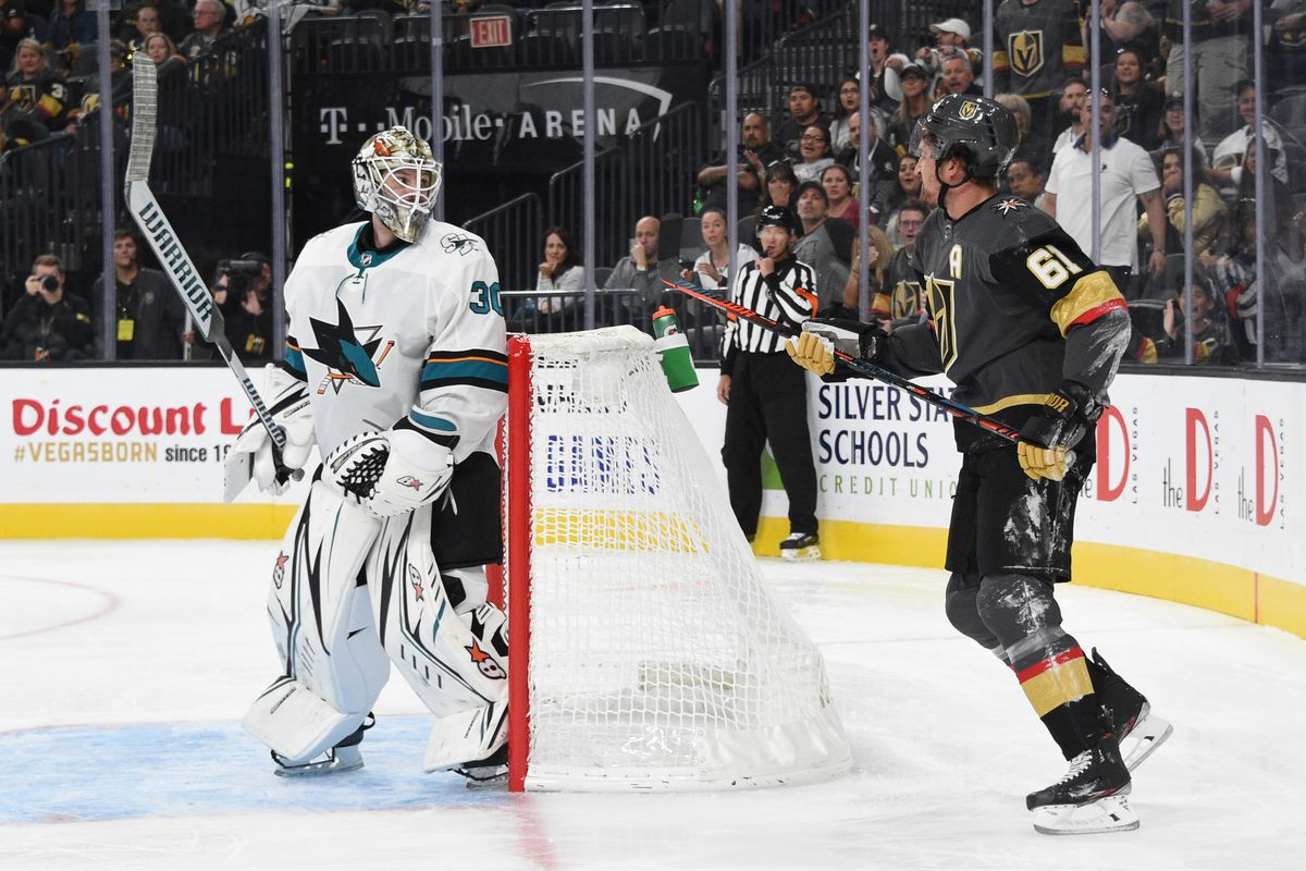LAS VEGAS, NEVADA - SEPTEMBER 29: Mark Stone #61 of the Vegas Golden Knights reacts after being shoulder-checked by Aaron Dell #30 of the San Jose Sharks during the third period at T-Mobile Arena on September 29, 2019 in Las Vegas, Nevada.
