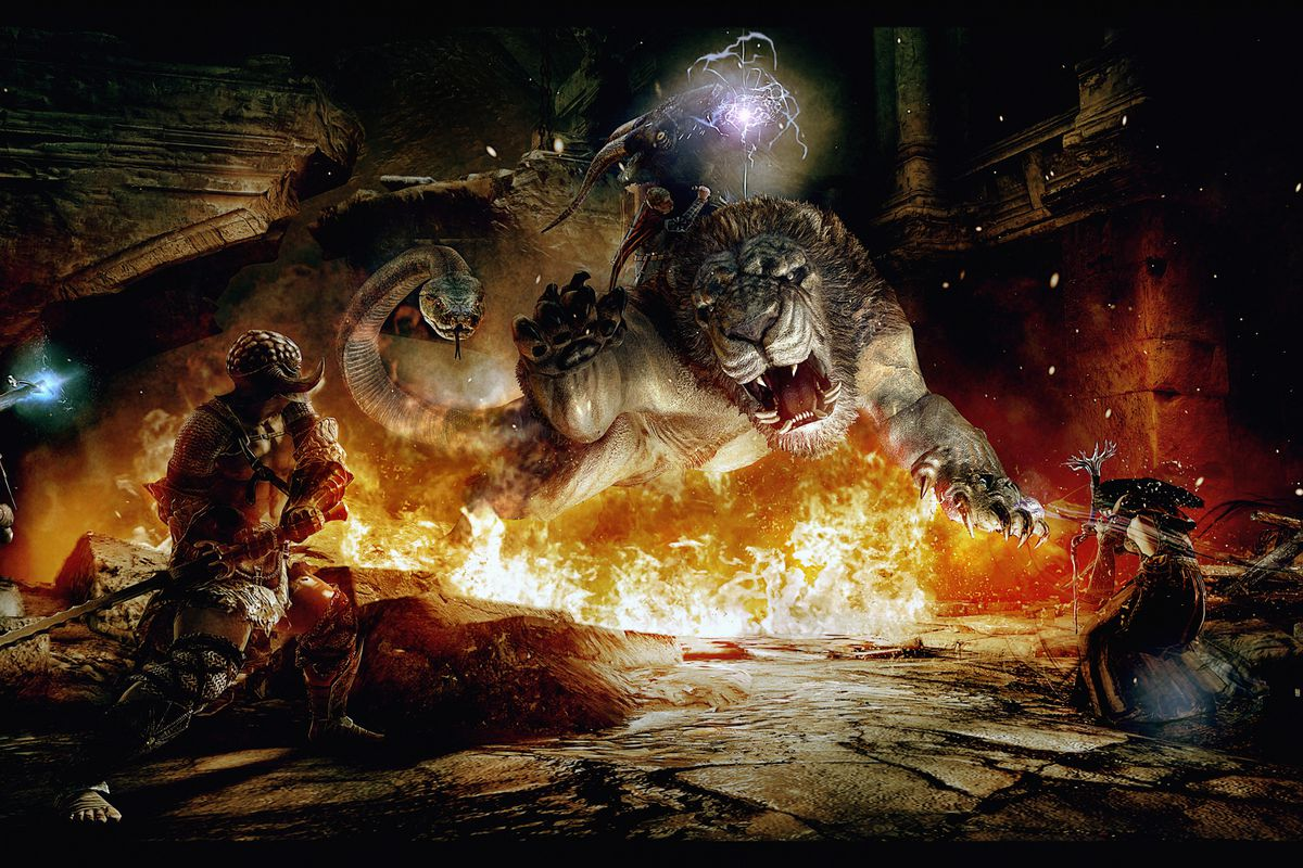 Warriors face a Chimera in a piece of concept artwork from Dragon's Dogma.