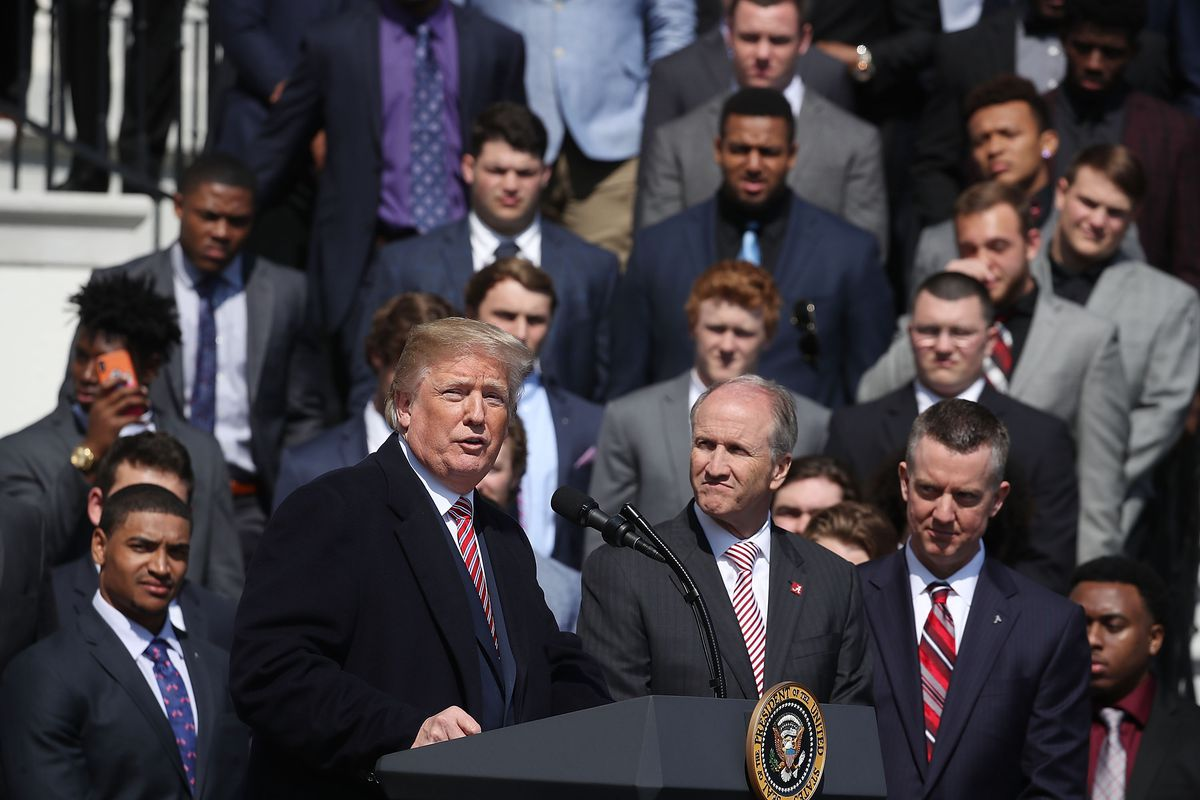 President Trump Hosts College Football Champions The Alabama Crimson Tide At The White House