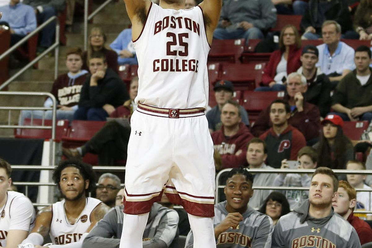 Boston College guard Jordan Chatman (25) shoots during the second half of an NCAA college basketball game against North Carolina in Boston, Saturday, Jan. 21, 2017. (AP Photo/Mary Schwalm)