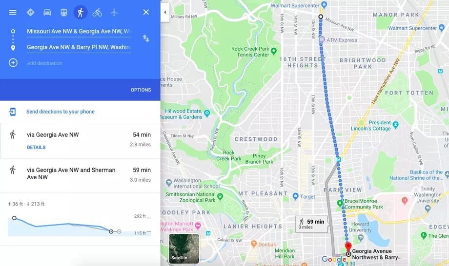 A Google Maps map of three miles of city streets.