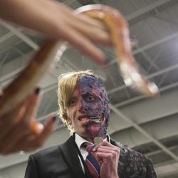 Bradley Morris looks at a snake during the Salt Lake Comic Con kick off press conference at the Salt Palace Convention Center in Salt Lake City, Thursday, Sept. 4, 2014.