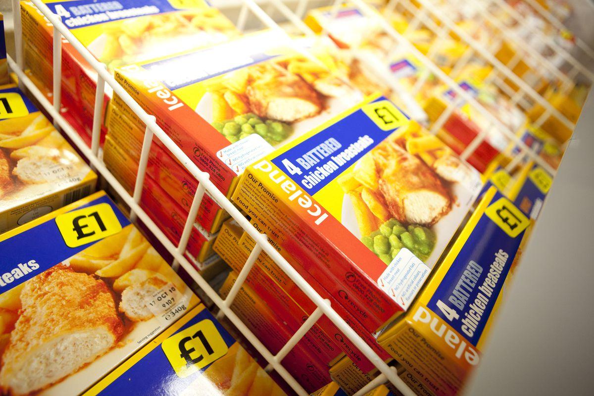 Pictured: A freezer full of Iceland own brand battered chicken breststeaks.