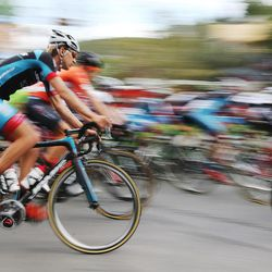 Riders complete the second of two circuits in Park City before starting out on the road in stage seven of the Larry H. Miller Tour of Utah on Sunday, Aug. 7, 2016.