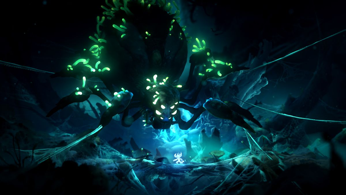 Ori and a spider in Ori and the Will of the Wisps