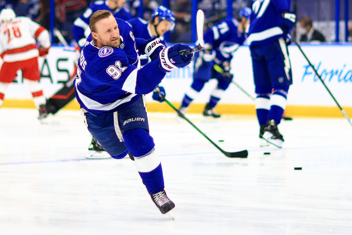 Steven Stamkos #91 of the Tampa Bay Lightning warms up during Game Four of the Second Round of the 2021 Stanley Cup Playoffs against the Carolina Hurricanes at Amalie Arena on June 05, 2021 in Tampa, Florida.
