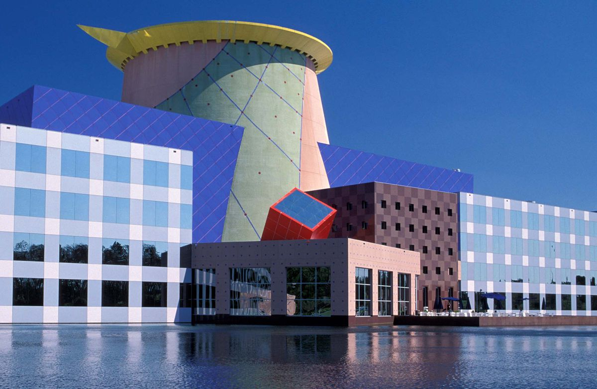 the Orlando headquarters of Disney, a building with a bright and colorful facade