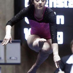 BYU's Krysten Koval performs her floor routine at the NCAA Salt Lake Regional Gymnastics Saturday, April 7, 2012 in Salt Lake City.