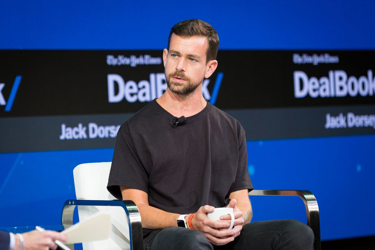 Twitter CEO Jack Dorsey onstage at the New York Times DealBook conference