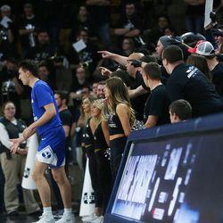 Utah State Aggies heckle a BYU player in Logan on Saturday, Dec. 2, 2017.