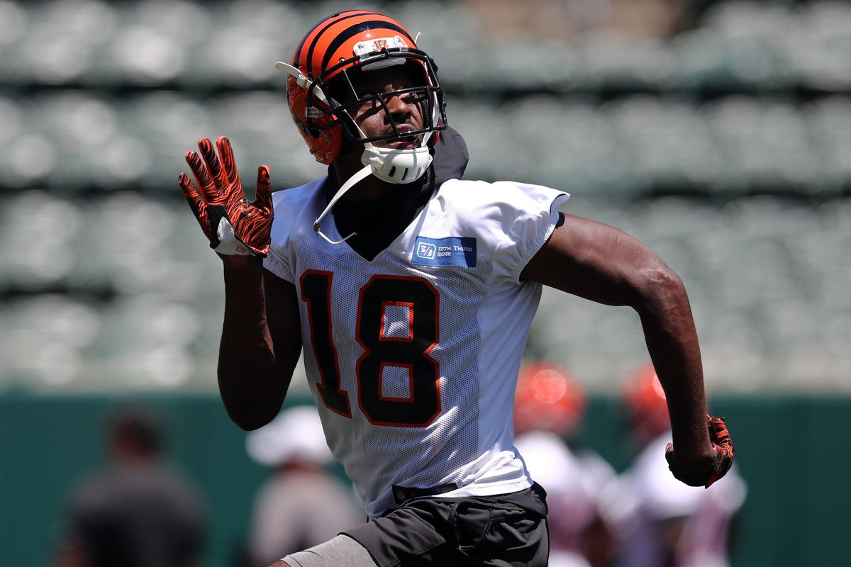 Bengals wide receiver A.J. Green participates in drills during minicamp at Paul Brown Stadium.