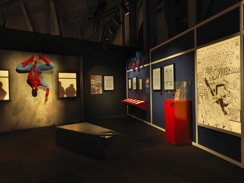 """Guests can take photos next to life-size representations of favorite Marvel characters including Black Panther, Spider-Man and the Hulk at """"Marvel: Universe of Super Heroes."""""""