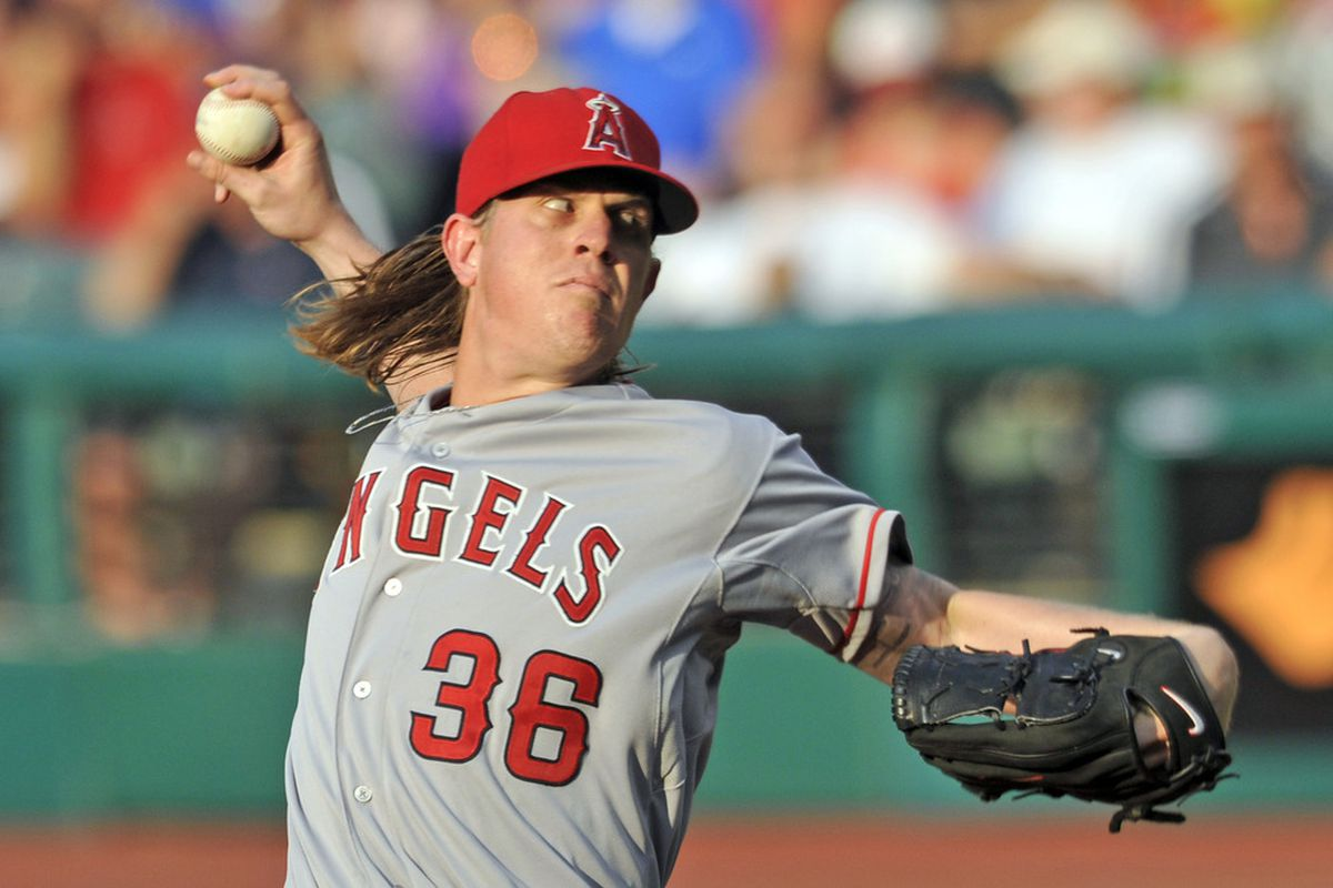 Jul 2, 2012; Cleveland, OH, USA; Los Angeles Angels starting pitcher Jered Weaver (36) delivers in the third inning against the Cleveland Indians at Progressive Field. Mandatory Credit: David Richard-US PRESSWIRE