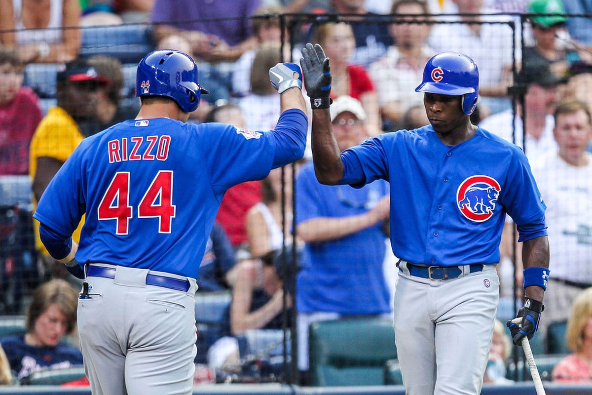 Cubs past meets Cubs future: Atlanta, GA, USA; Chicago Cubs first baseman Anthony Rizzo celebrates a home run with left fielder Alfonso Soriano against the Atlanta Braves at Turner Field. Credit: Daniel Shirey-US PRESSWIRE