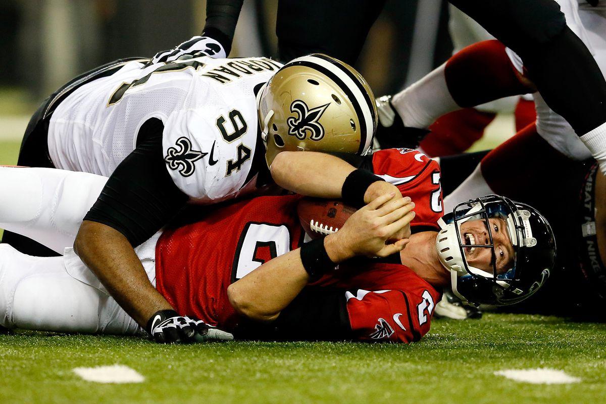 ATLANTA, GA - NOVEMBER 21:  Defensive end Cameron Jordan #94 of the New  Orleans Saints sacks quarterback Matt Ryan #2 of the Atlanta Falcons  during a game at the Georgia Dome.