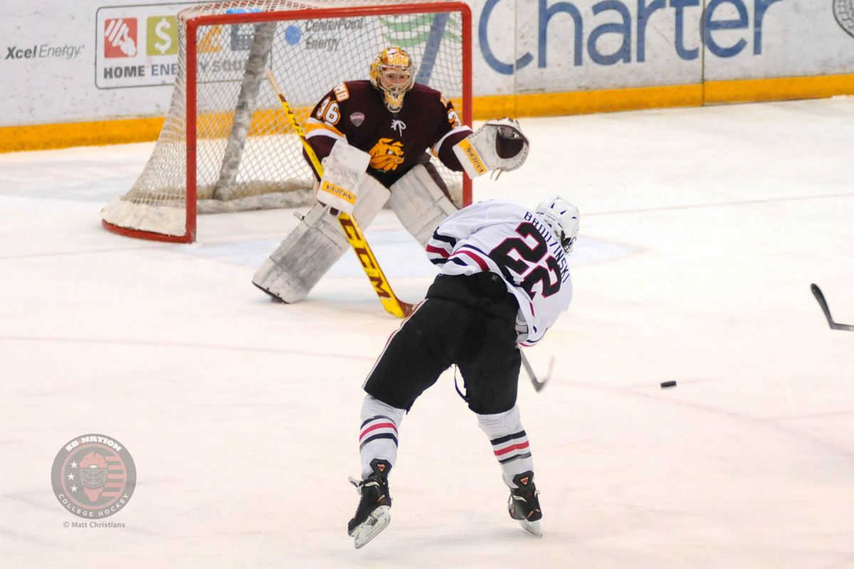 Jonny Brodzinski had a hat trick Friday and a NCHC regular season title with St. Cloud State Saturday