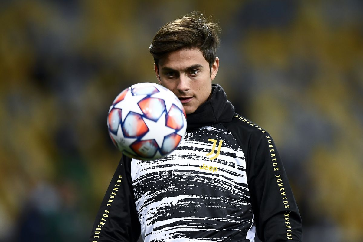 Paulo Dybala of Juventus FC in action during warm up prior...