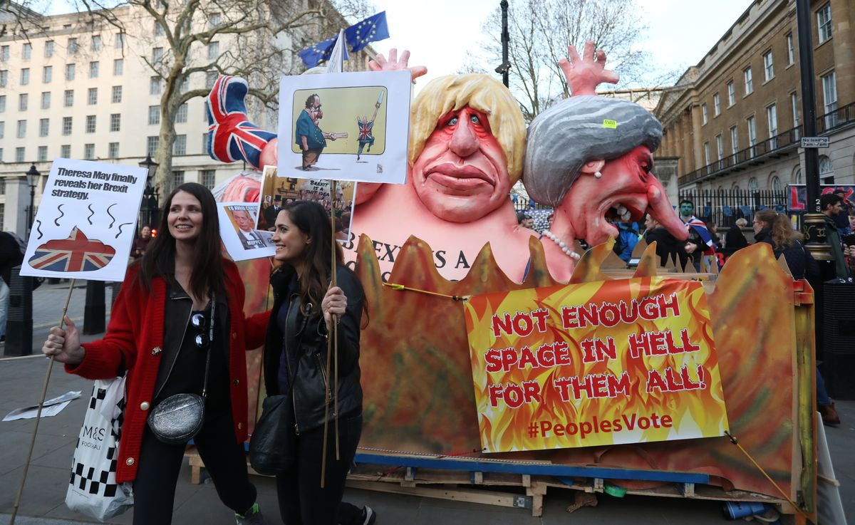 Demonstrators at the People's Vote anti-Brexit march in London on March 23, 2019.
