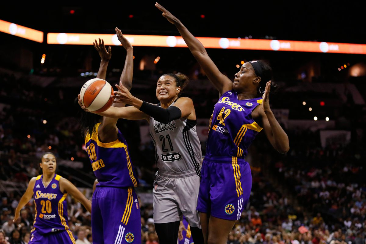 The SB Nation image feed FINALLY showed its first WNBA game in 2014! Here, Kayla McBride is just going to work on some hapless Sparks defenders.