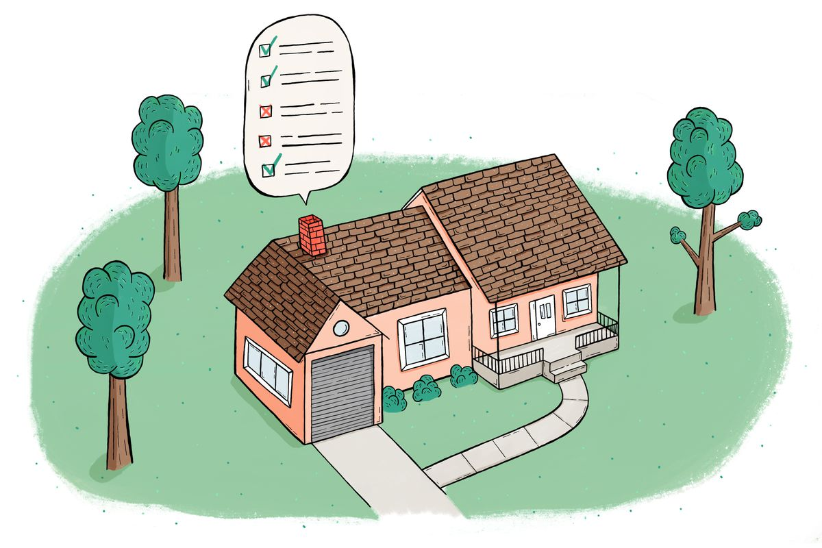 Illustration of a pink house with a check list coming out of the chimney.