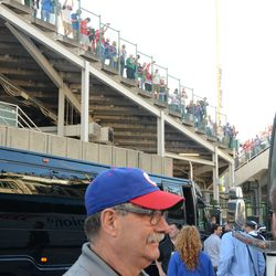6:33 p.m. Fans in the right field grandstands had the best view -