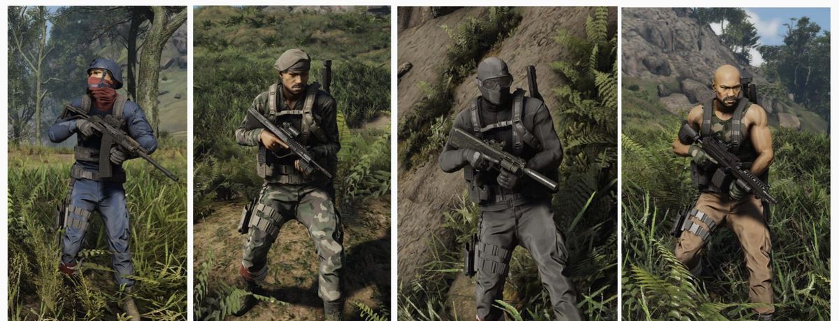 Four images side by side of famous G.I. Joe action figures presented in Tom Clancy's Ghost Recon Breakpoint