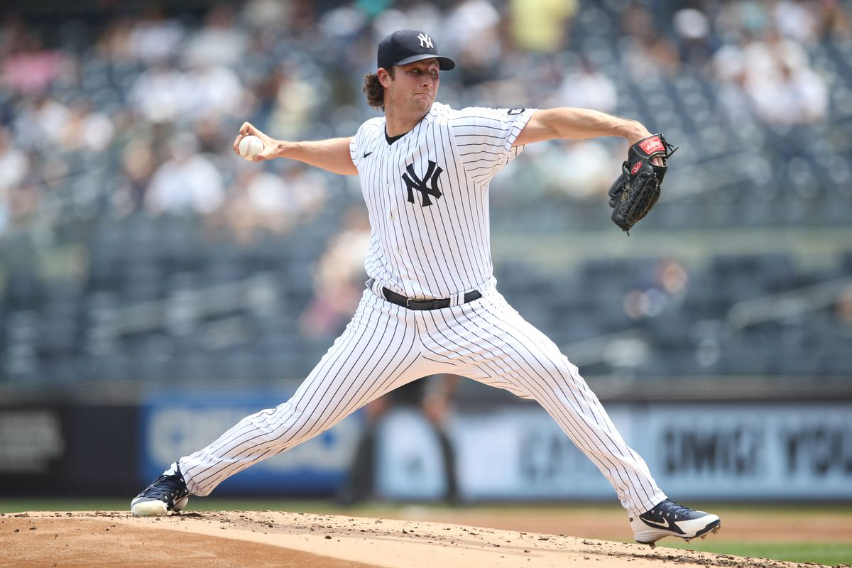 Gerrit Cole #45 of the New York Yankees pitches during the game between the Chicago White Sox and the New York Yankees at Yankee Stadium on Saturday, May 22, 2021 in the Bronx borough of New York City.