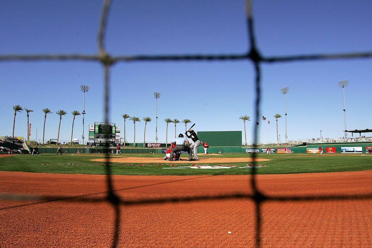 Apr 1, 2012; Goodyear, AZ, USA; A general view of a game between the Cincinnati Reds and Chicago White Sox during the eighth inning at Goodyear Ballpark.  Mandatory Credit: Jake Roth-US PRESSWIRE