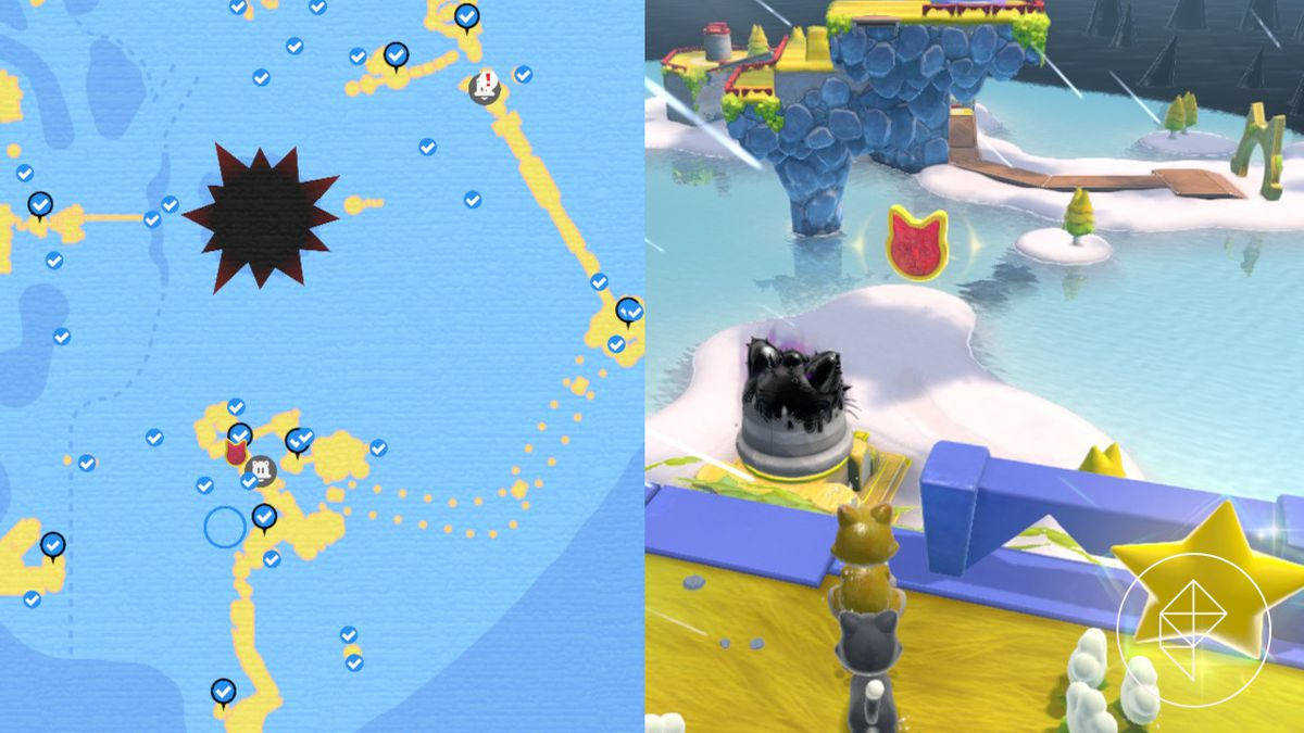 A map showing where to find a Cat Shine Shard floating beyond a platform