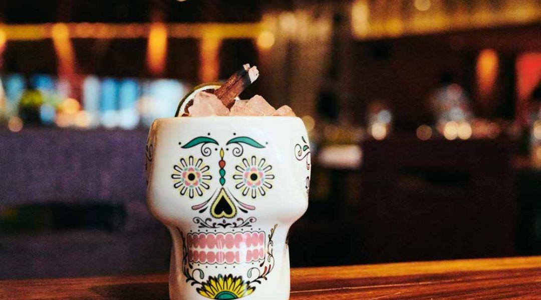 A skull-shaped mug