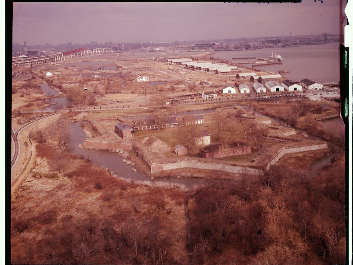 An aerial view of Fort Mifflin in Philadelphia.