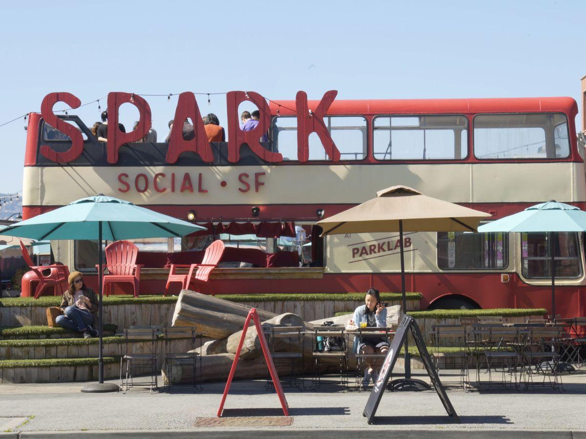 Outdoor seating at Spark Social SF