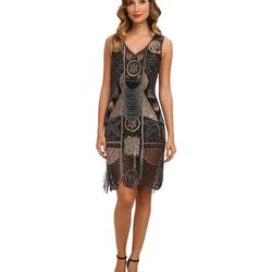"""<a href=""""http://www.zappos.com/unique-vintage-1920s-the-bosley-beaded-flapper-with-beaded-fringe-dress-black-gold"""">Unique Vintage Bosley Dress</a> $324.00"""