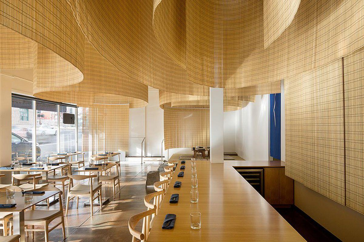 Kengo Kuma fills Portland restaurant with delicate bamboo screens ...