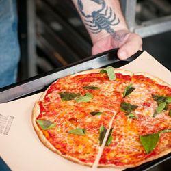 "Bunk Bar's ""margherita tortilla"" pizza."