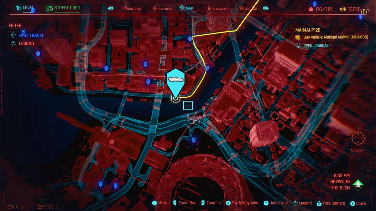 A map detailing the location of a Delamain cab in Cyberpunk 2077