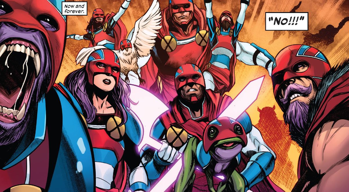 Members of the Captain Britain Corp, including human Captains of all races and genders, a purple ape Captain, a frog Captain, and a bird Captain, in Excalibur #15, Marvel Comics (2020).