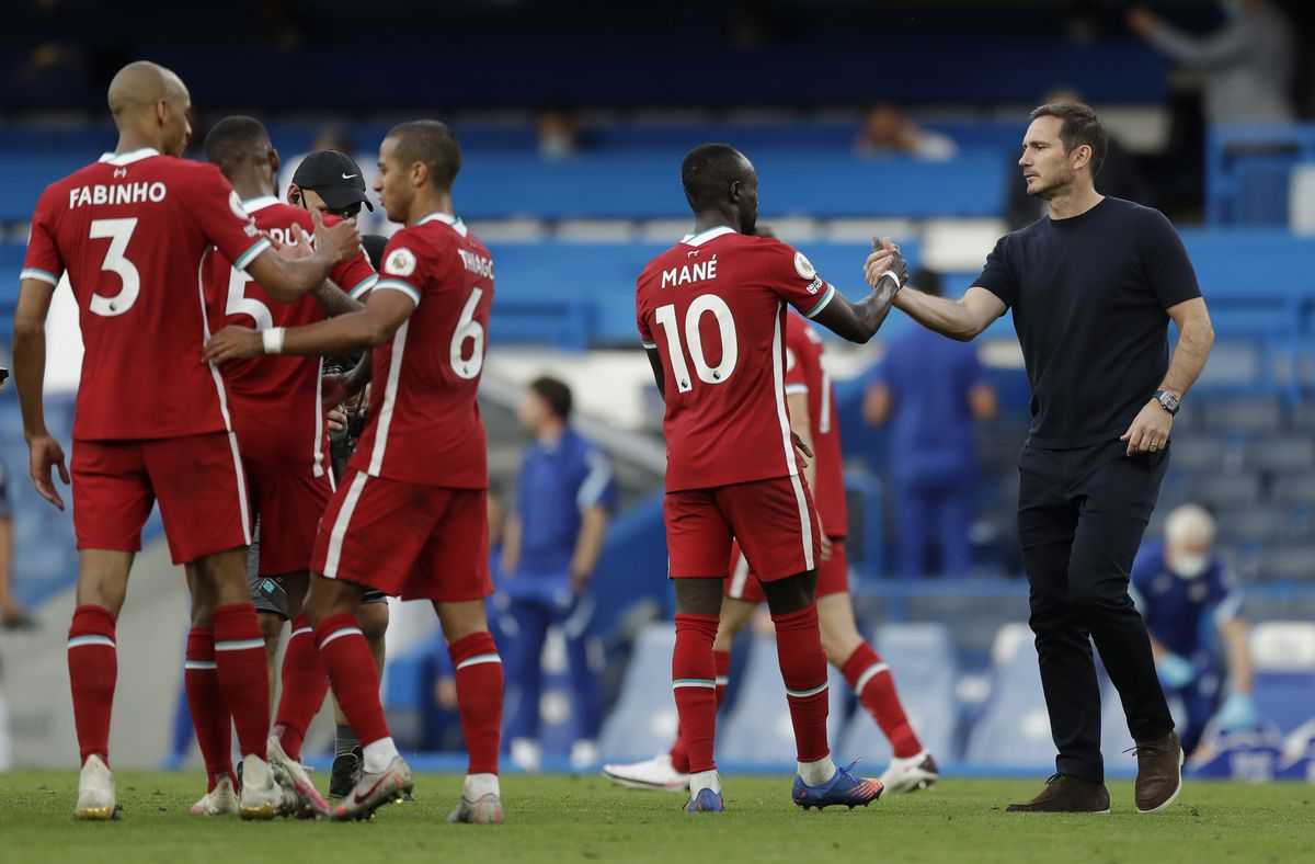 Chelsea v Liverpool - Premier League - a defeated Lampard shakes Mané's hand following Liverpool's win at Stamford Bridge