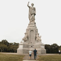 Author Timothy Ballard visits the Monument to the Forefathers in Plymouth, Mass.