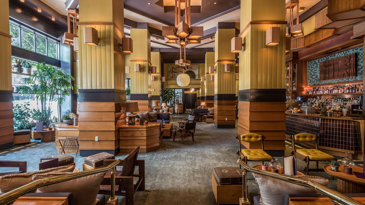 big colors and bright drinks at downtown la's newest hotel bar